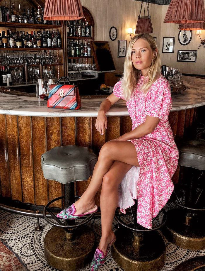 Summer Wedding Outfit Ideas: Floral dress and embroidered mules