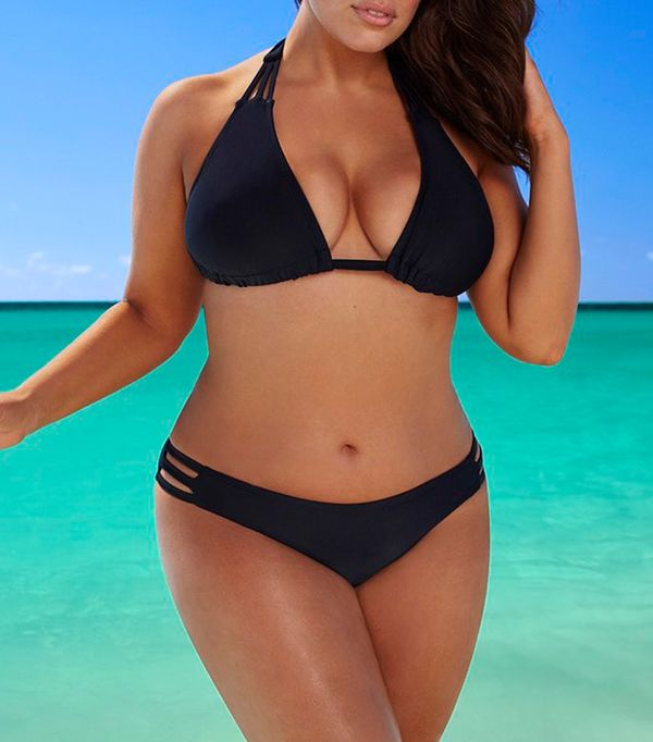 plus size swim suits - Swimsuits For All Beach Babe Black Bikini