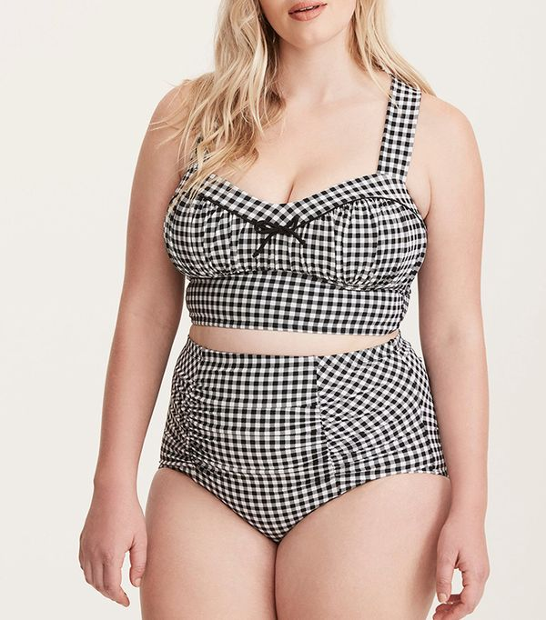 plus size swim suits - Torrid Gingham Print Ruched Bust Bikini Top