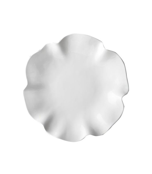 "Crate and Barrel White Ruffle 16"" Platter"