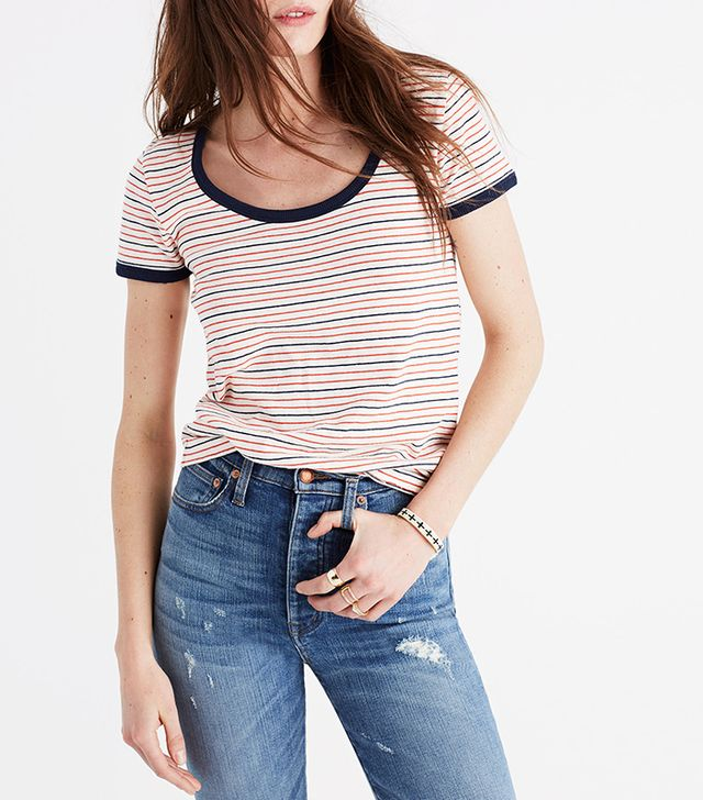 Recycled Cotton Ringer Tee in Sacramento Stripe