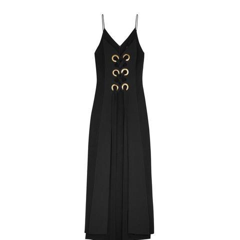 Delorean Crepe-Paneled Brushed-Satin Maxi Dress