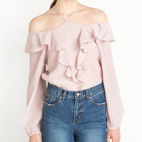 Market Ruffled Pale Pink Top