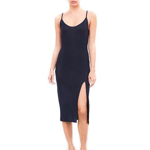 Ribbed High-Slit Slip Dress