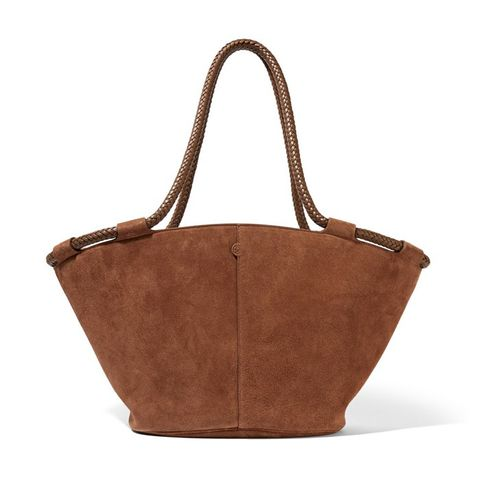Market Small Leather-Trimmed Suede Tote