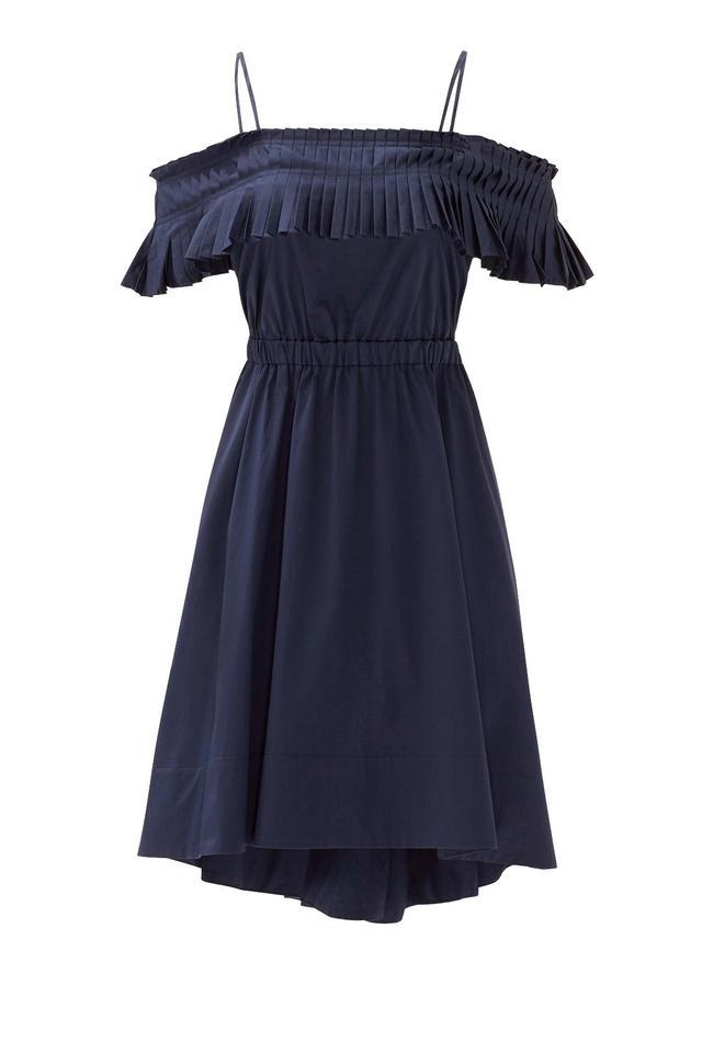 Tibi Navy Satin Poplin Ruffle Dress