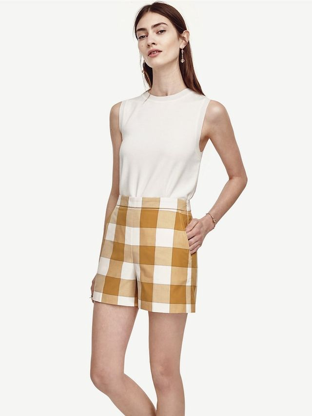 Ann Taylor Gingham High Waist Shorts