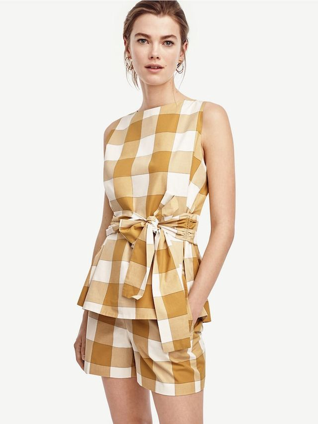 Ann Taylor Belted Gingham Shell