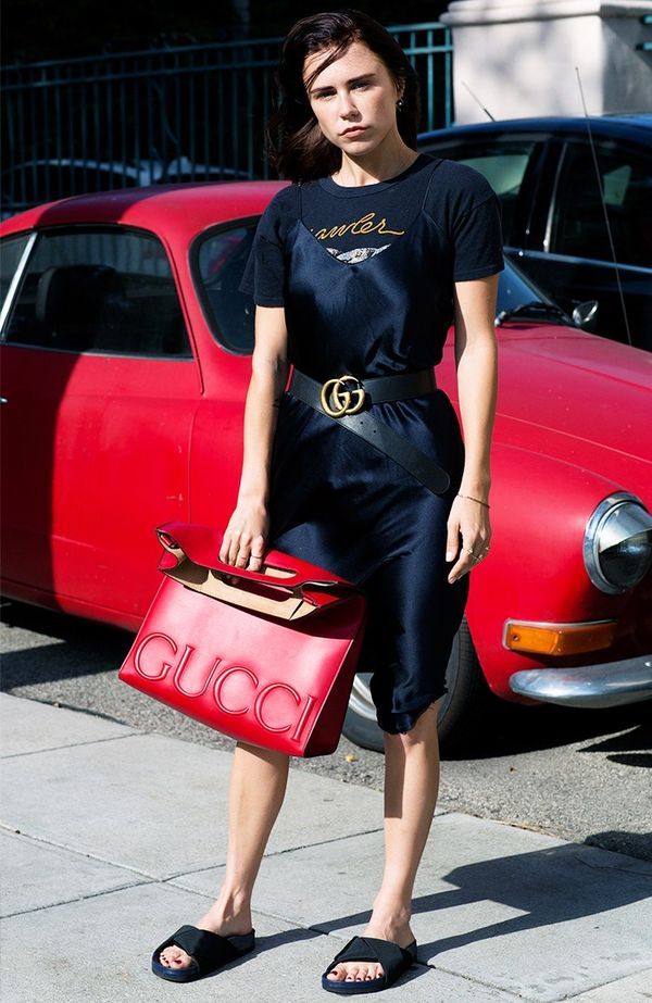 Summer Outfit Idea #1: Layer a Silk Slip Over a Vintage Tee