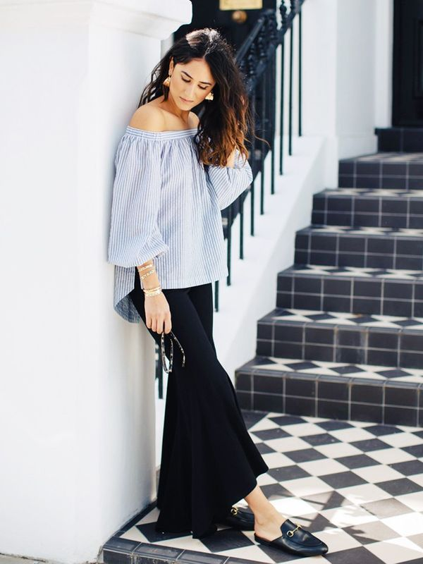 Summer Outfit Idea #9: Pair a Whimsical Top With Black Trousers