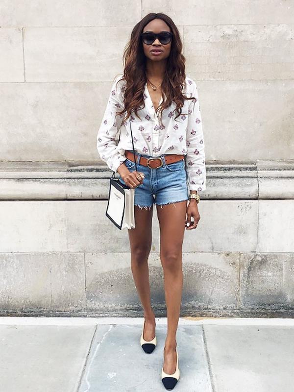 Summer Outfit Idea #10: Wear Posh Slingbacks With Jean Shorts