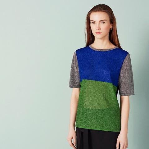 Bravington Lurex Detail Short Sleeve Jersey Top