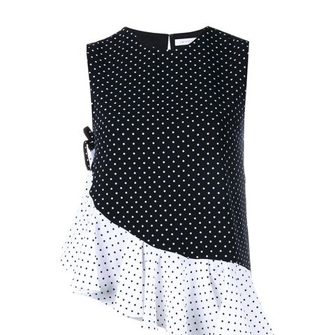 Asymmetrical Polka Dot Ruffle Top