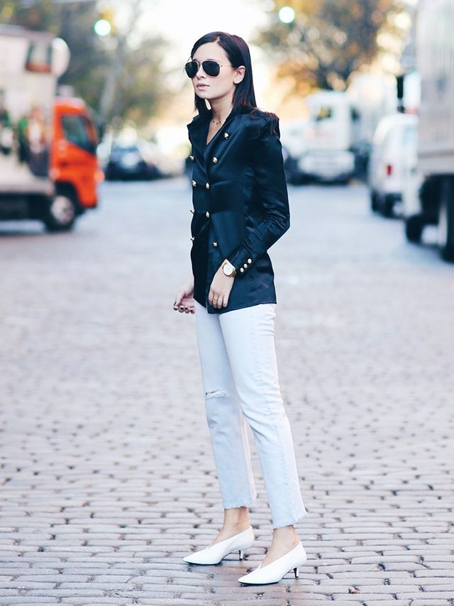 Blue jeansin New Yorkare often seenpaired with polished separates, like blazers and pumps.