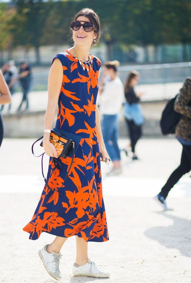 Sundresses in NYC are commonly accessorized with sneakers since everyone is on foot.