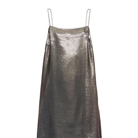 Square-Neck Lame Cami Dress