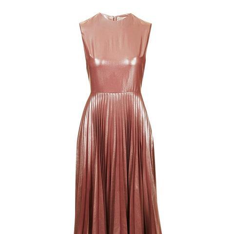 Metallic Lame Pleated Midi Dress ($