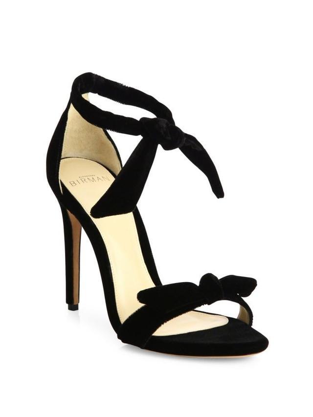 Alexandre Birman Clarita Velvet Ankle-Tie Sandals