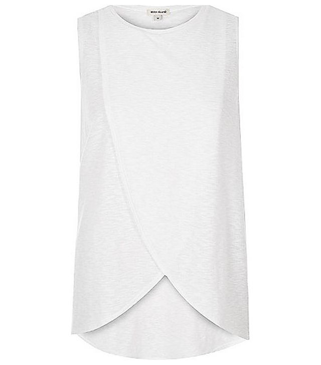 River Island White Wrap-Front Top