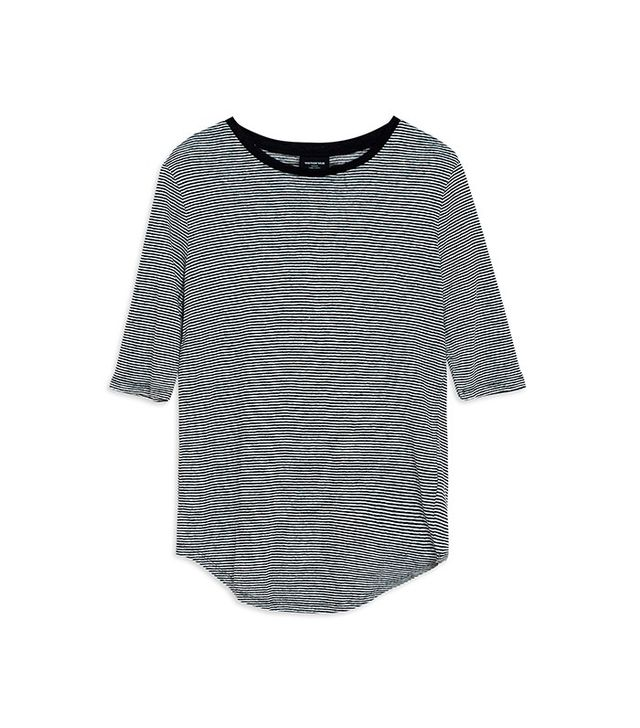 Who What Wear Plus-Size Elbow Sleeve Linen Tee