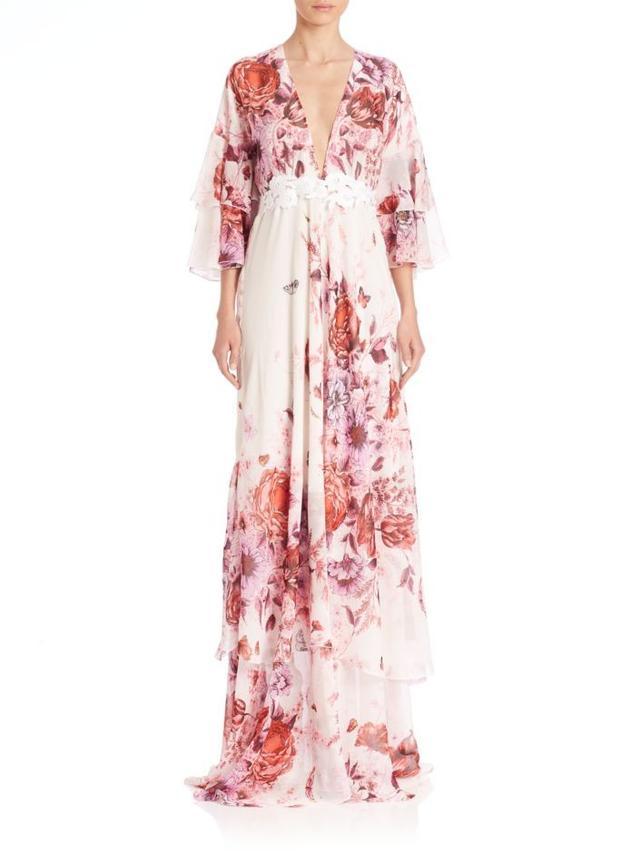 Giamba Silk Floral-Print Deep-V Maxi Dress