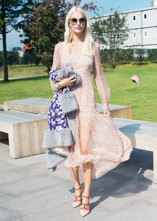 Coordinate them with a predominately pink floral-print dress.