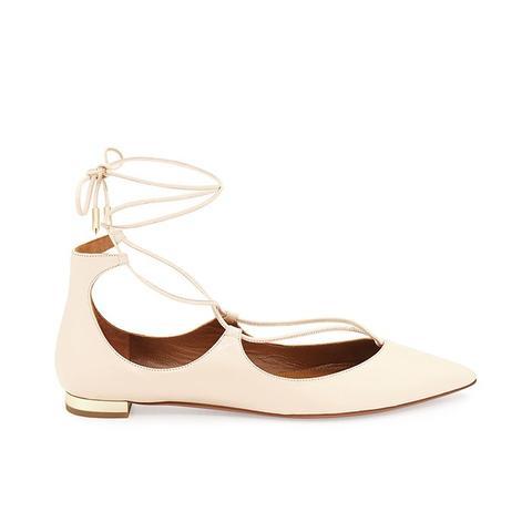 Christy Lace-Up Point-Toe Flat, Blush