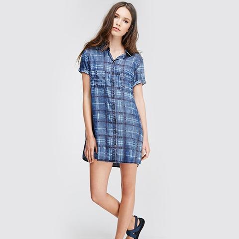 Plaid Denim Shirt Dress