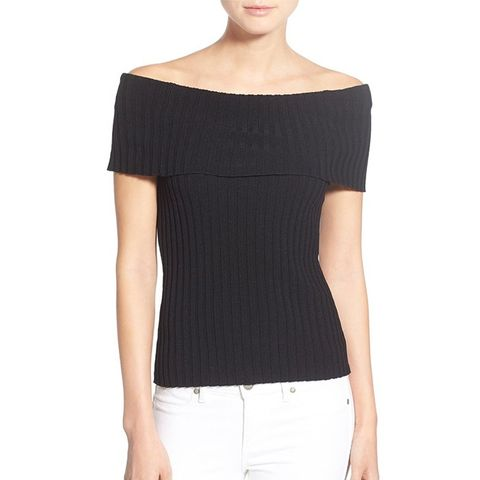 Rib Knit Off the Shoulder Sweater