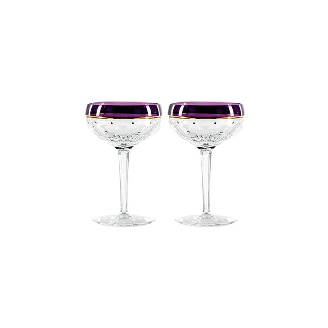 Waterford Elysian Champagne Coupe Pair Amethyst