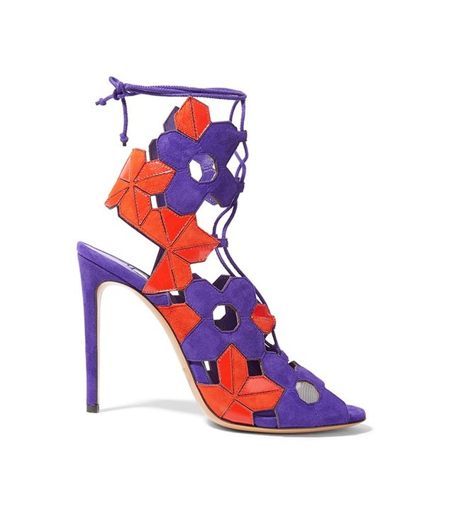 Casadei Laser-Cut Suede and Leather Sandals