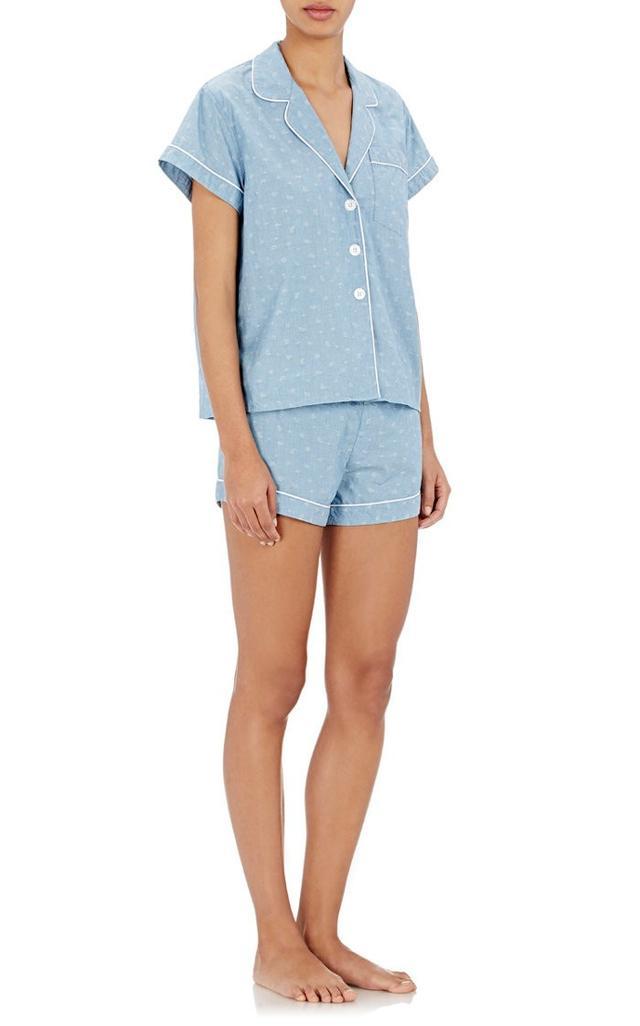 Steven Alan Paisley Jacquard Crop Pajama Top