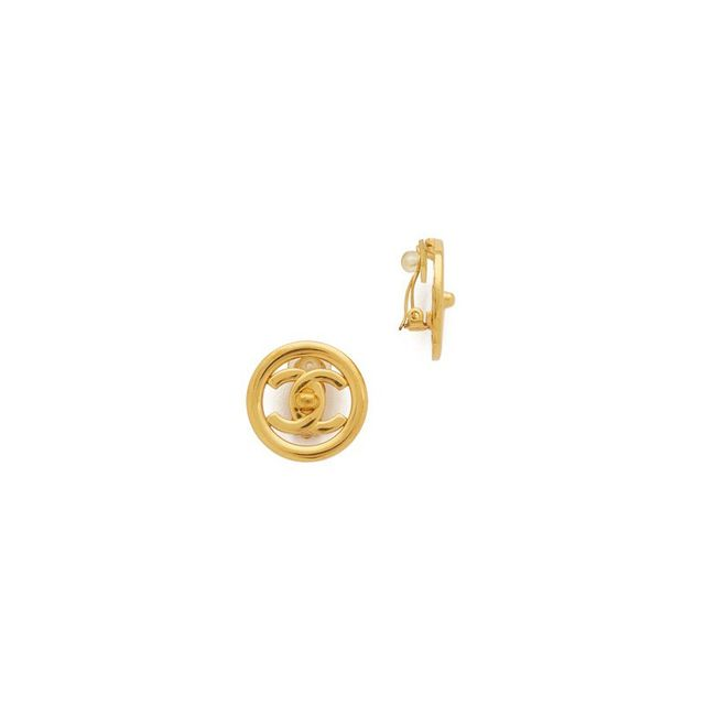 Chanel Vintage CC Round Earrings
