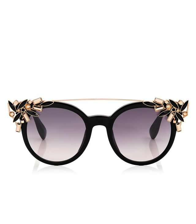 Jimmy Choo Black Round Framed Sunglasses with Detachable Jewel Clip On