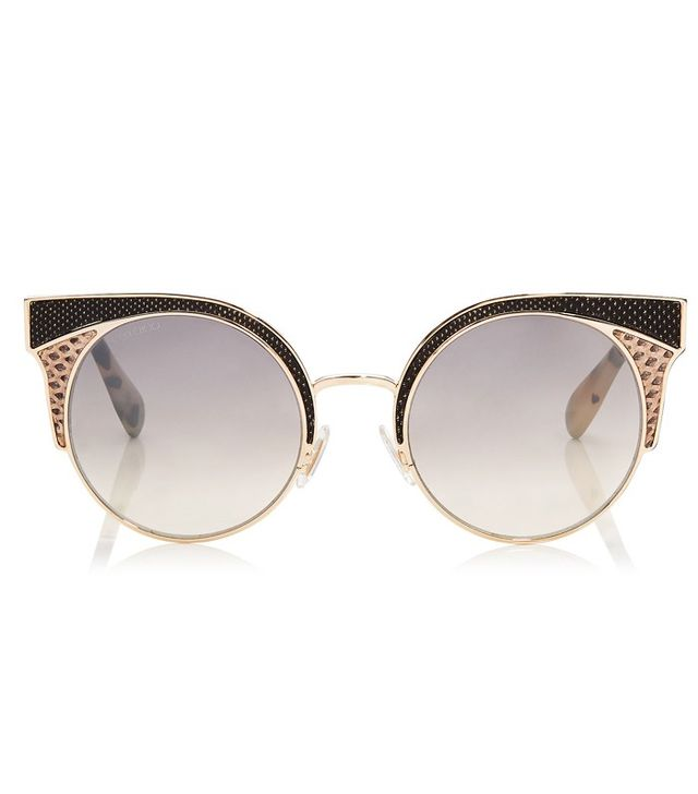 Jimmy Choo Metal Framed Sunglasses with Snakeskin Leather Detail