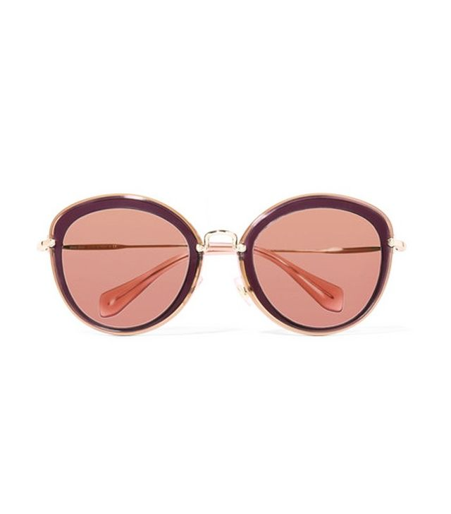 Miu Miu Noir Round-Frame Acetate And Gold-Tone Sunglasses