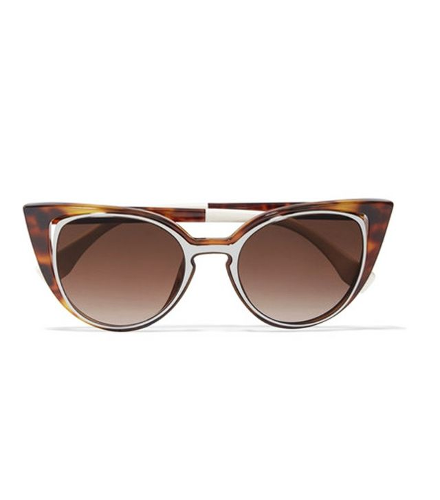 Fendi Cutout Cat-Eye Acetate And Gunmetal-Tone Sunglasses