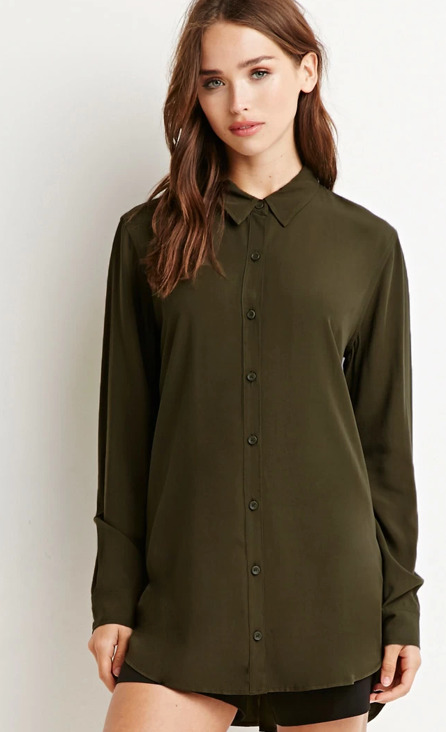 Forever 21 Vented Back Shirt in Olive