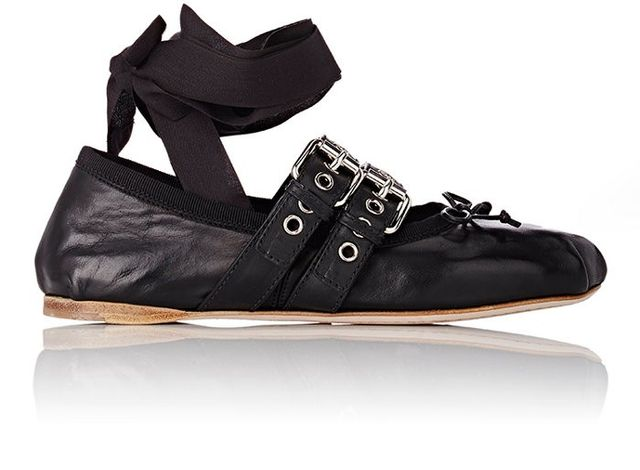 Miu Miu Double-Buckle Ankle-Tie Flats