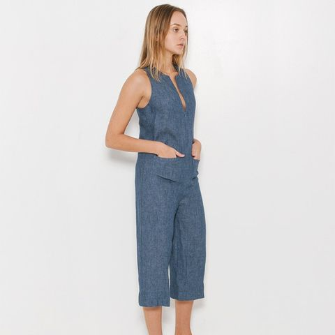 Denim Cropped Jumpsuit