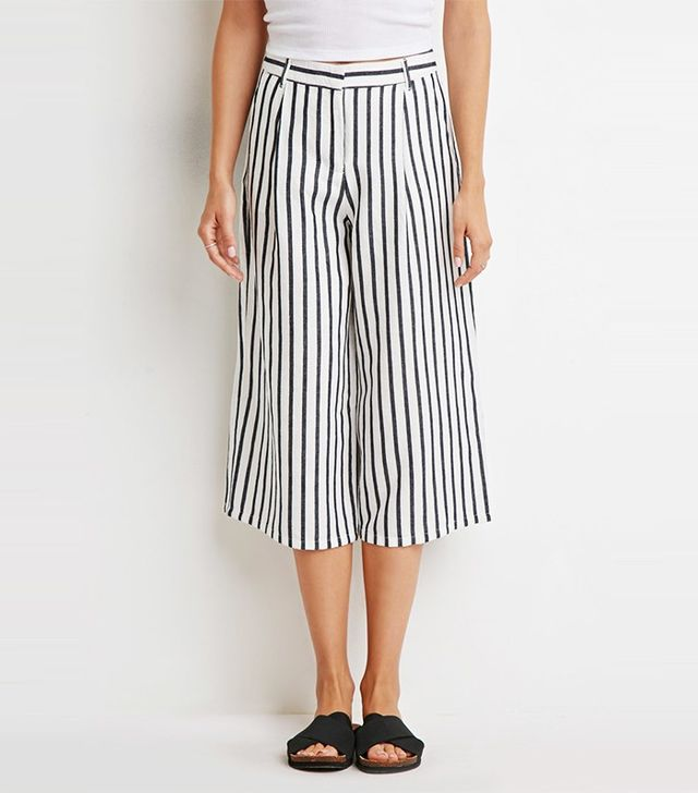 Forever 21 Contemporary Striped Linen-Blend Culottes