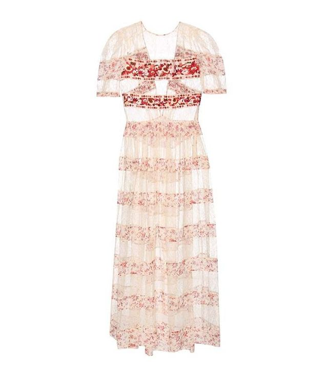 Etro Embroidered Lace and Printed Silk Dress