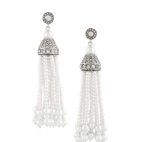 Silver-Tone Faux Pearl Tassel Earrings