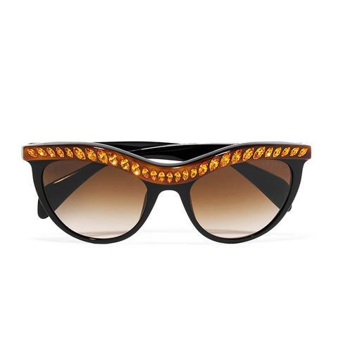 D-Frame Crystal Embellished Sunglasses