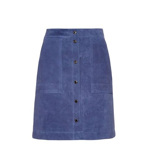 Button-Front Suede Skirt