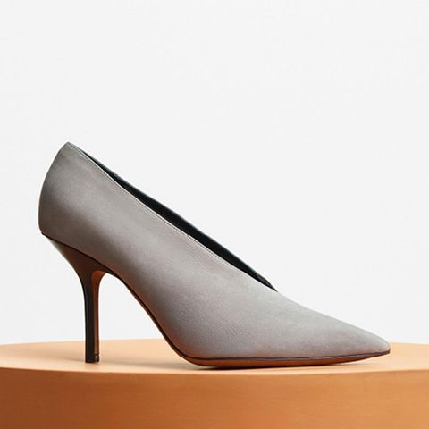 Essential V Neck Pump in Medium Grey Nubuck Calfskin