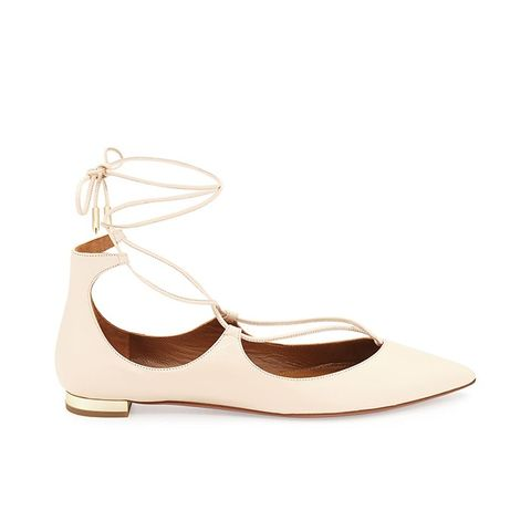 Christy Lace-Up Point-Toe Flat, Blush