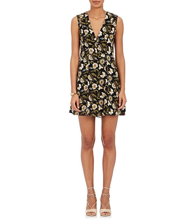 A.L.C. Flower-Print Silk Crepe V-Neck A-Line Dress