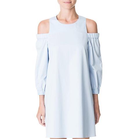 Satin Poplin Cut Out Shoulder Dress