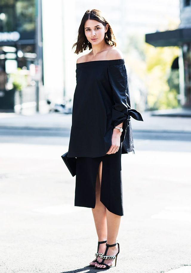 Show a little skin and opt for an off-the-shoulder dress that feels on trend this season without being too over the top.